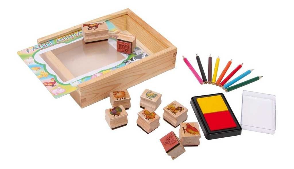 Small foot Small Foot Dřevěné výtvarné hračky set razítka farma